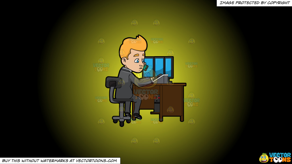 A Man Calling A Client While At His Desk On A Yellow And Black Gradient Background thumbnail
