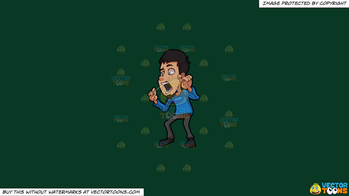 A Man Carefully Flossing His Upper Front Tooth On A Solid Dark Green 093824 Background thumbnail
