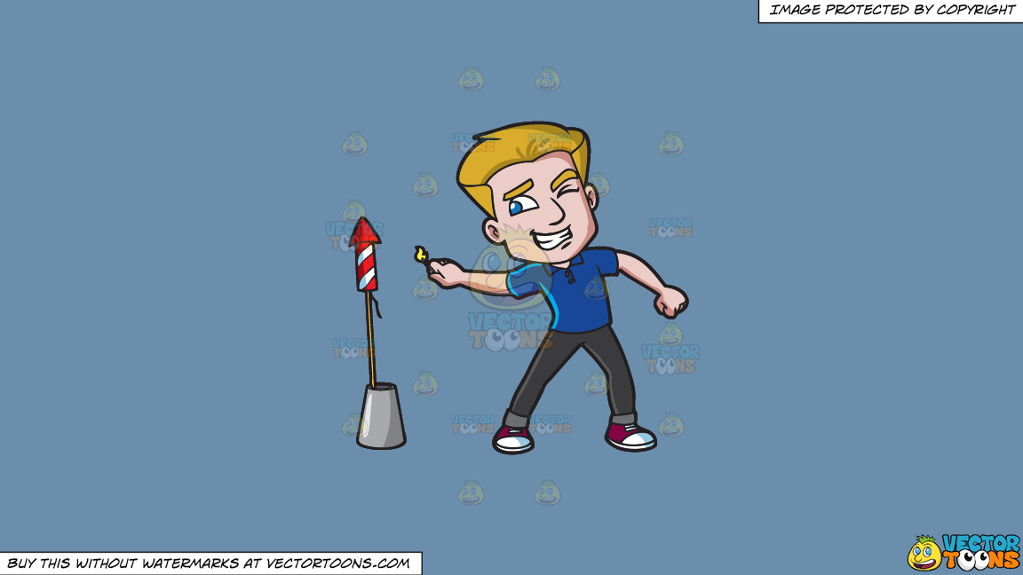 A Man Carefully Lights A Rocket Firecracker On A Solid Shadow Blue 6c8ead Background thumbnail