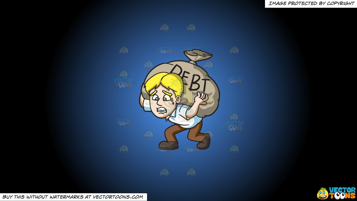 A Man Carrying A Heavy Sack Of Debt On A Blue And Black Gradient Background thumbnail