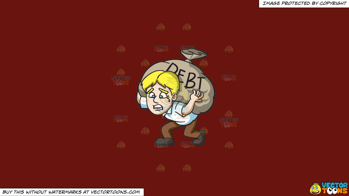 A Man Carrying A Heavy Sack Of Debt On A Solid Maroon 69140e Background thumbnail