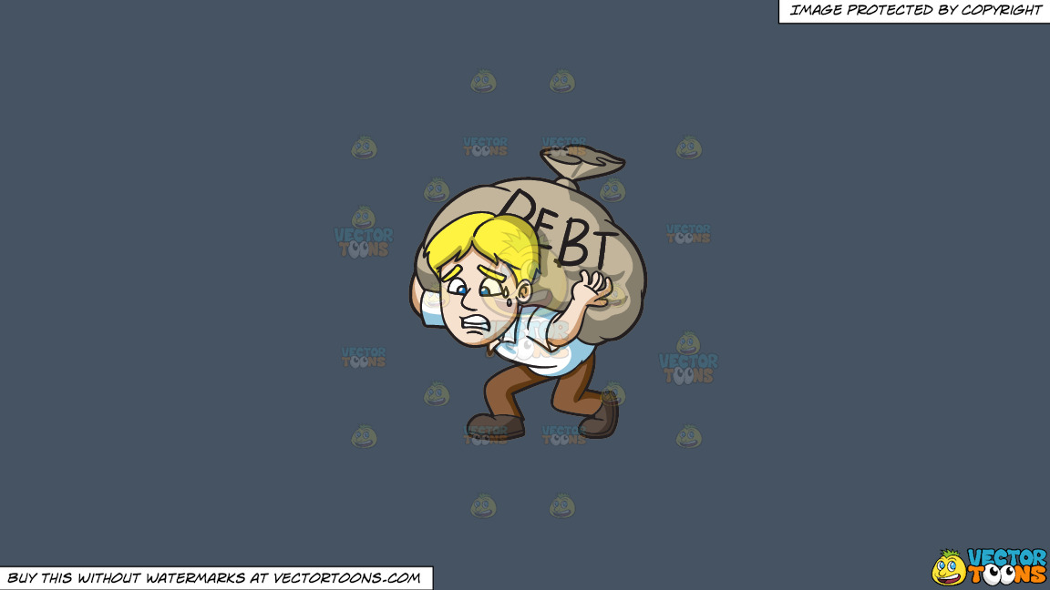 A Man Carrying A Heavy Sack Of Debt On A Solid Metal Grey 465362 Background thumbnail