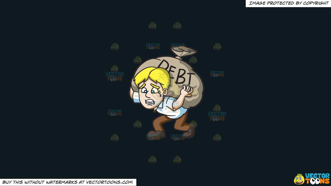 A Man Carrying A Heavy Sack Of Debt On A Solid Off Black 0f1a20 Background thumbnail