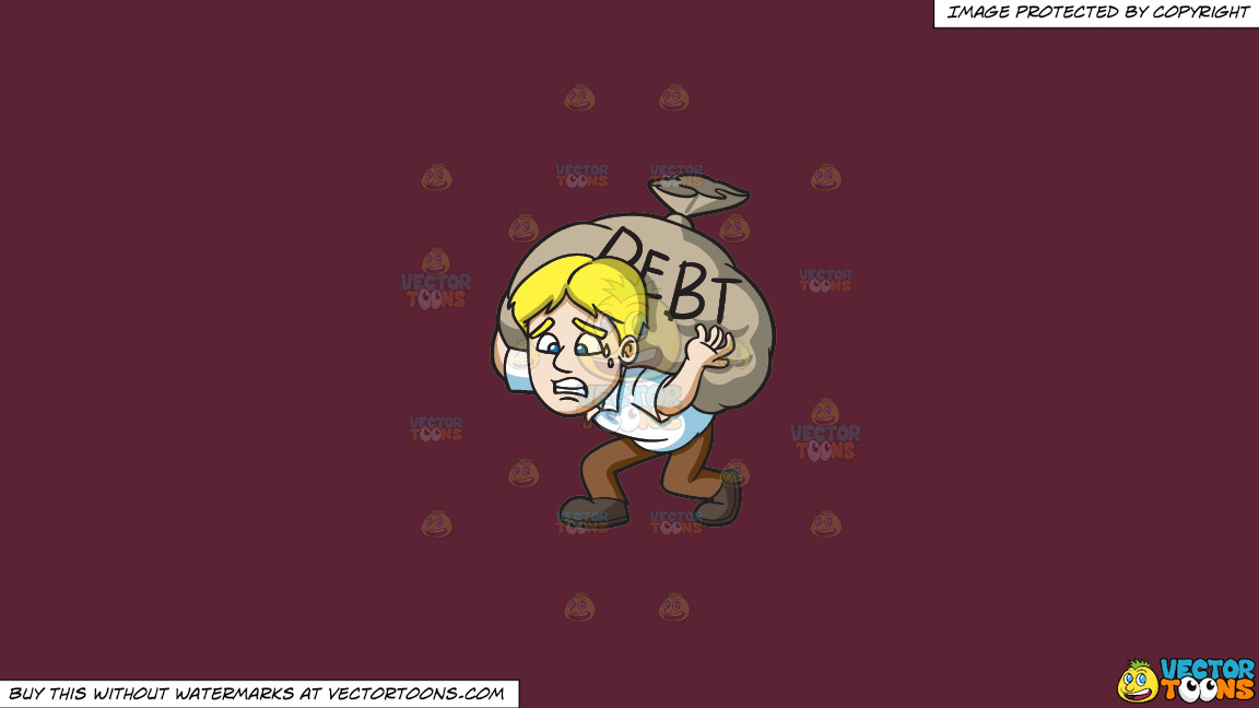 A Man Carrying A Heavy Sack Of Debt On A Solid Red Wine 5b2333 Background thumbnail