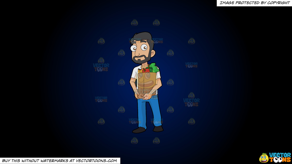 A Man Carrying A Paper Bag Full Of Fruits And Vegetables On A Dark Blue And Black Gradient Background thumbnail