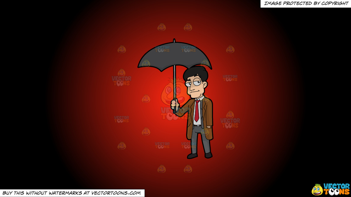 A Man Carrying An Umbrella On A Red And Black Gradient Background thumbnail