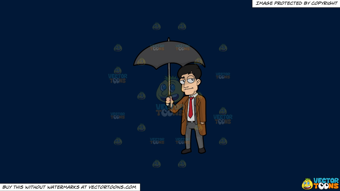 A Man Carrying An Umbrella On A Solid Dark Blue 011936 Background thumbnail