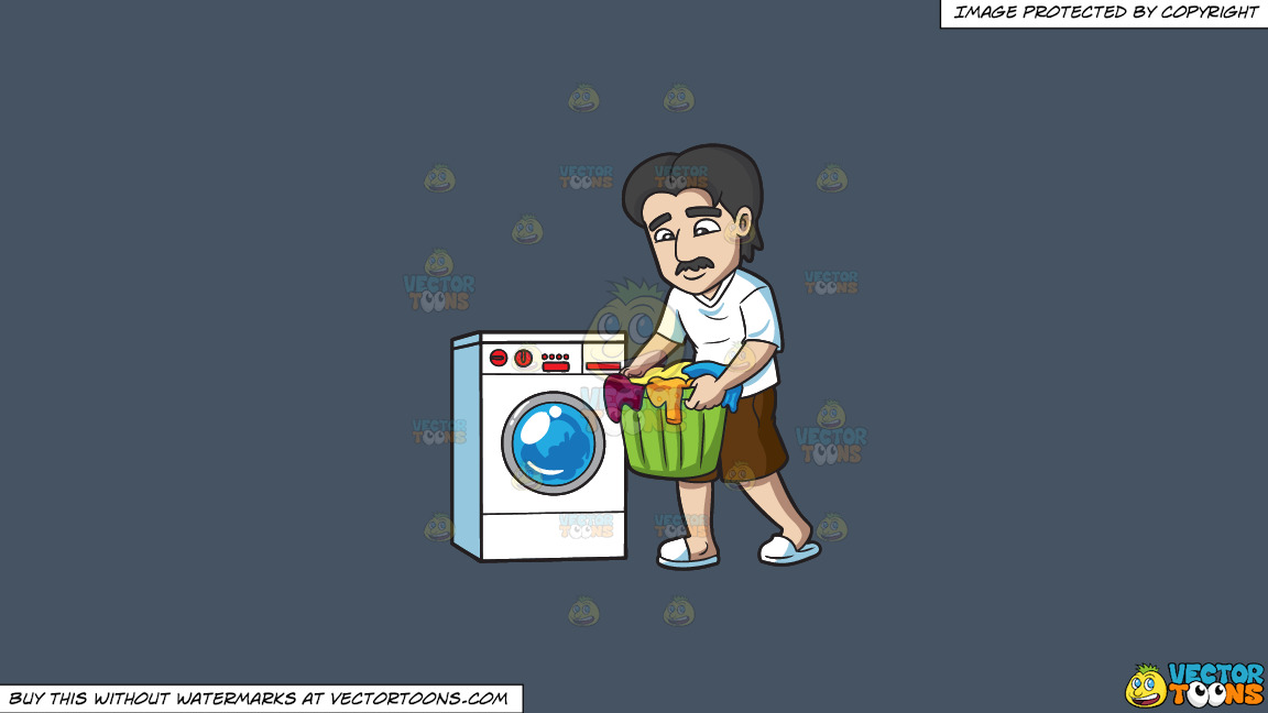 A Man Carrying Clothes For Laundry On A Solid Metal Grey 465362 Background thumbnail