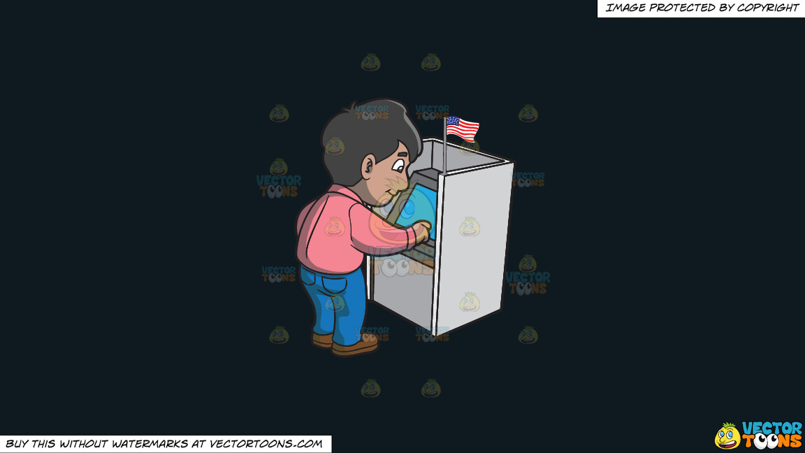 A Man Casting His Vote During The Election On A Solid Off Black 0f1a20 Background thumbnail