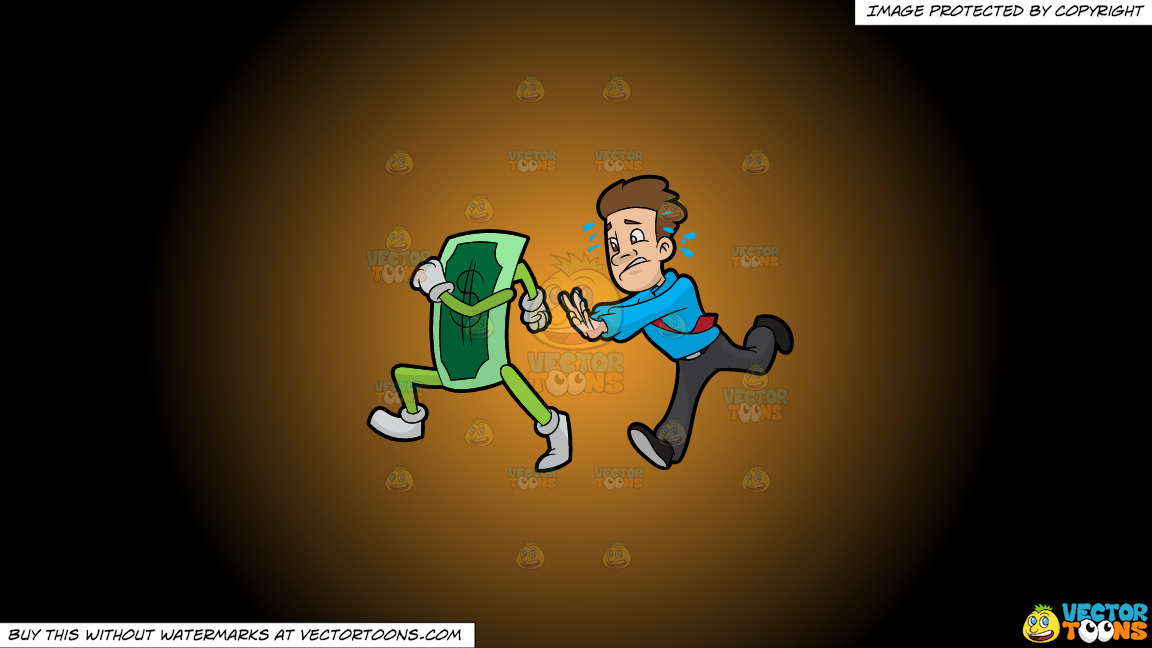 A Man Chasing Cash That Is Running Away From Him On A Orange And Black Gradient Background thumbnail