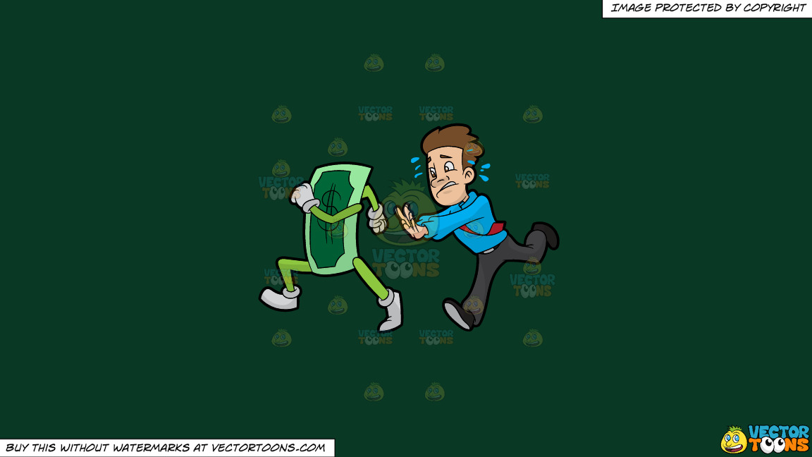 A Man Chasing Cash That Is Running Away From Him On A Solid Dark Green 093824 Background thumbnail