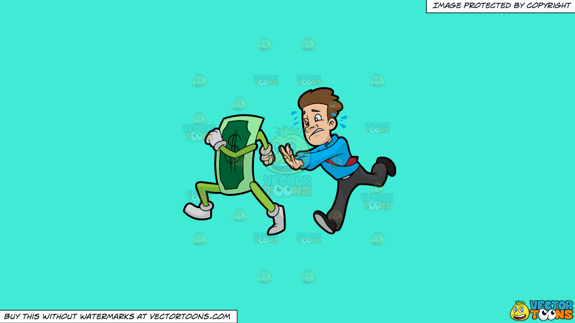 A Man Chasing Cash That Is Running Away From Him On A Solid Turquiose 41ead4 Background thumbnail
