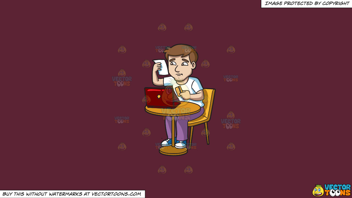 A Man Checking His Credit Card Statement On A Solid Red Wine 5b2333 Background thumbnail
