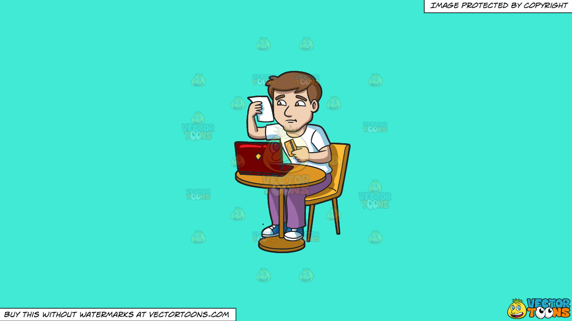 A Man Checking His Credit Card Statement On A Solid Turquiose 41ead4 Background thumbnail