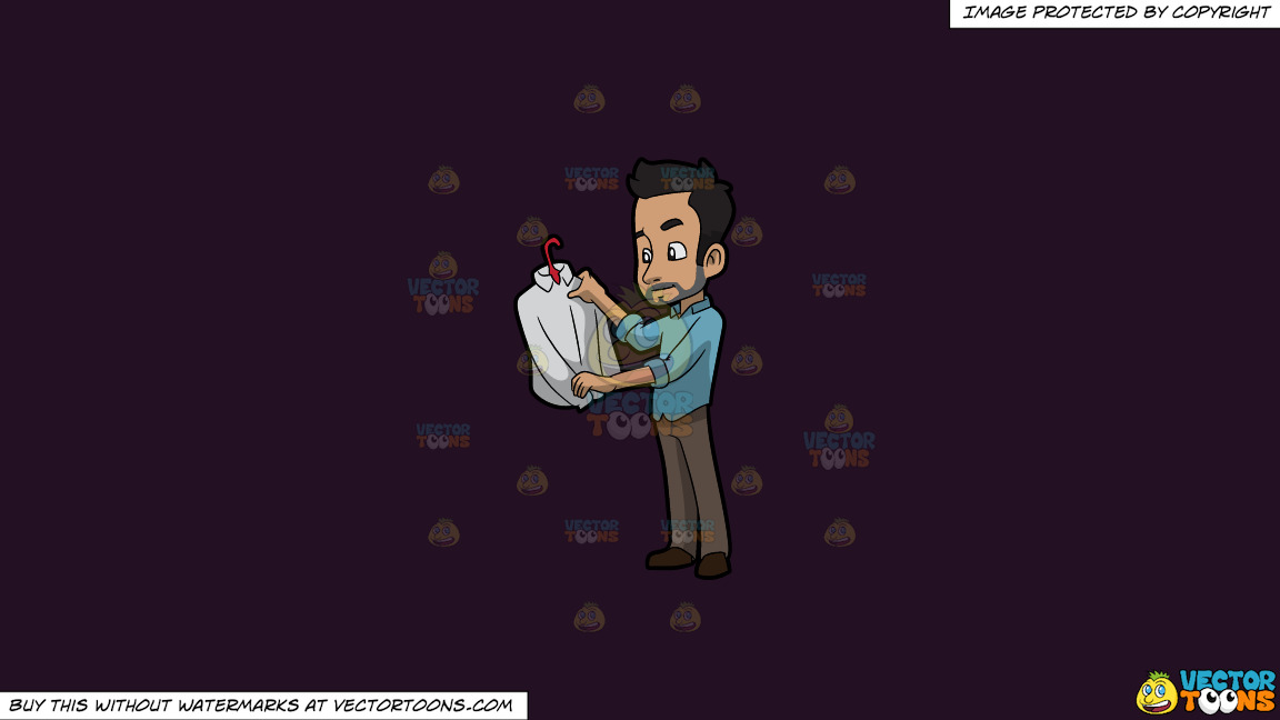 A Man Checking Out An Expensive Dress Shirt On A Solid Purple Rasin 241023 Background thumbnail
