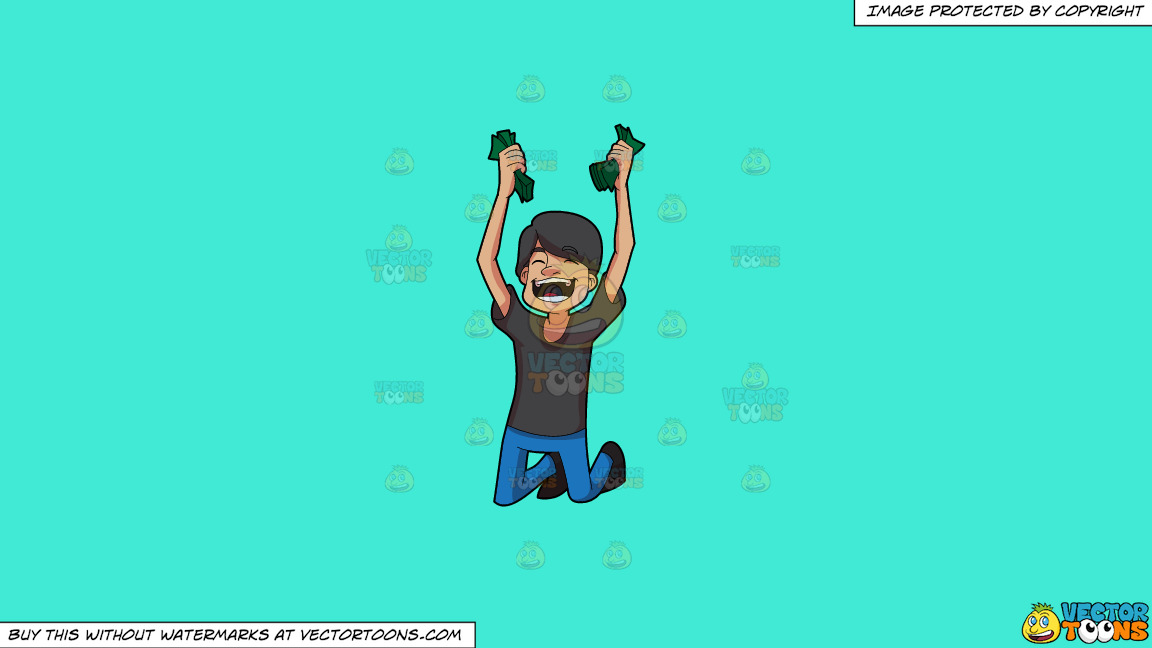 A Man Cheering In Delight After Getting Money On A Solid Turquiose 41ead4 Background thumbnail