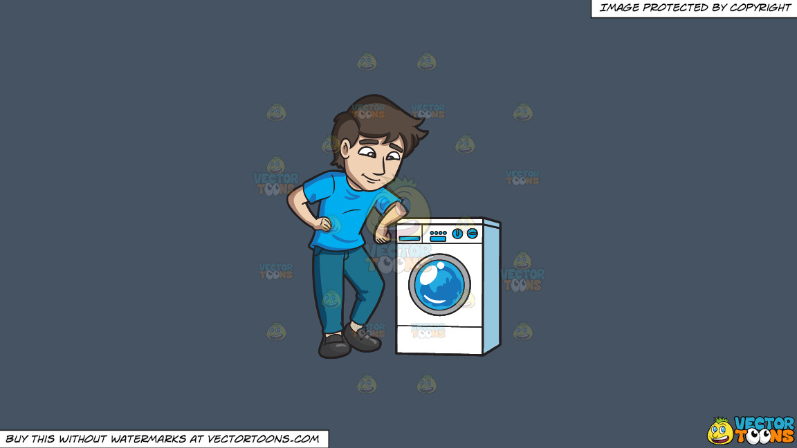 A Man Chills Out While Waiting For His Laundry To Be Done On A Solid Metal Grey 465362 Background thumbnail