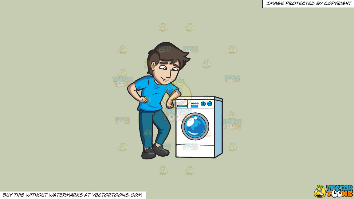 A Man Chills Out While Waiting For His Laundry To Be Done On A Solid Pale Silver C6ccb2 Background thumbnail