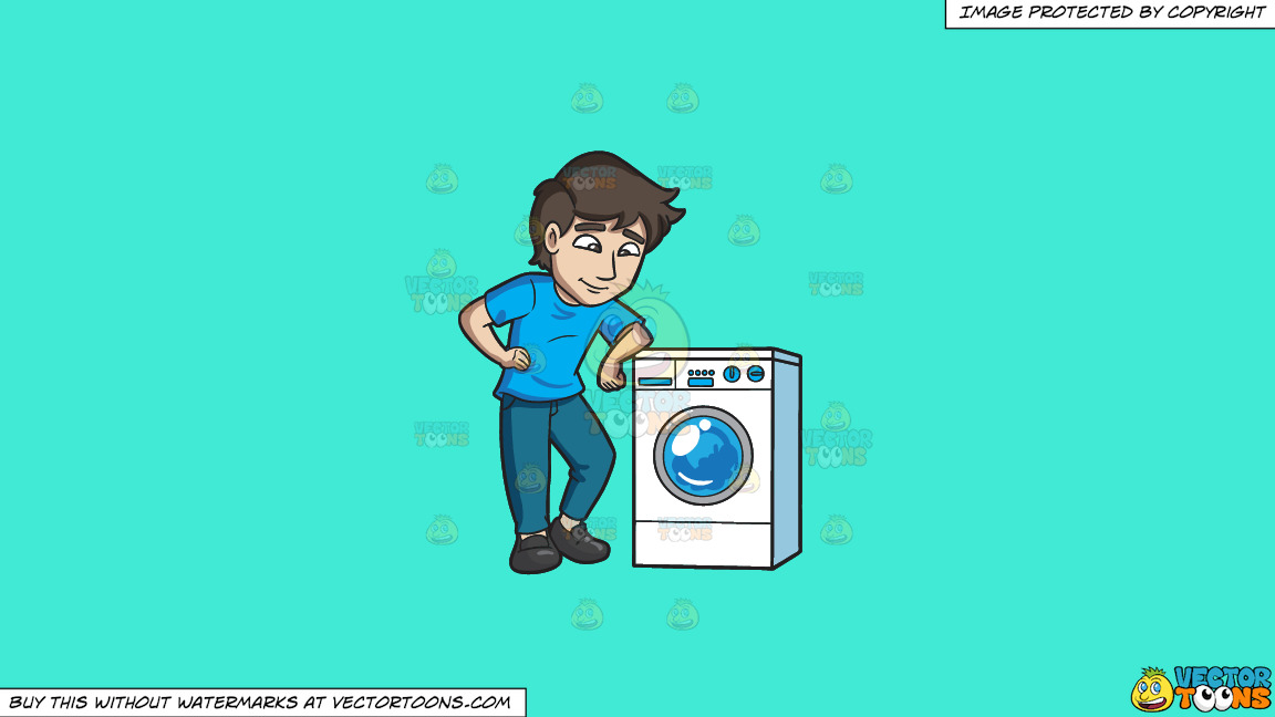 A Man Chills Out While Waiting For His Laundry To Be Done On A Solid Turquiose 41ead4 Background thumbnail