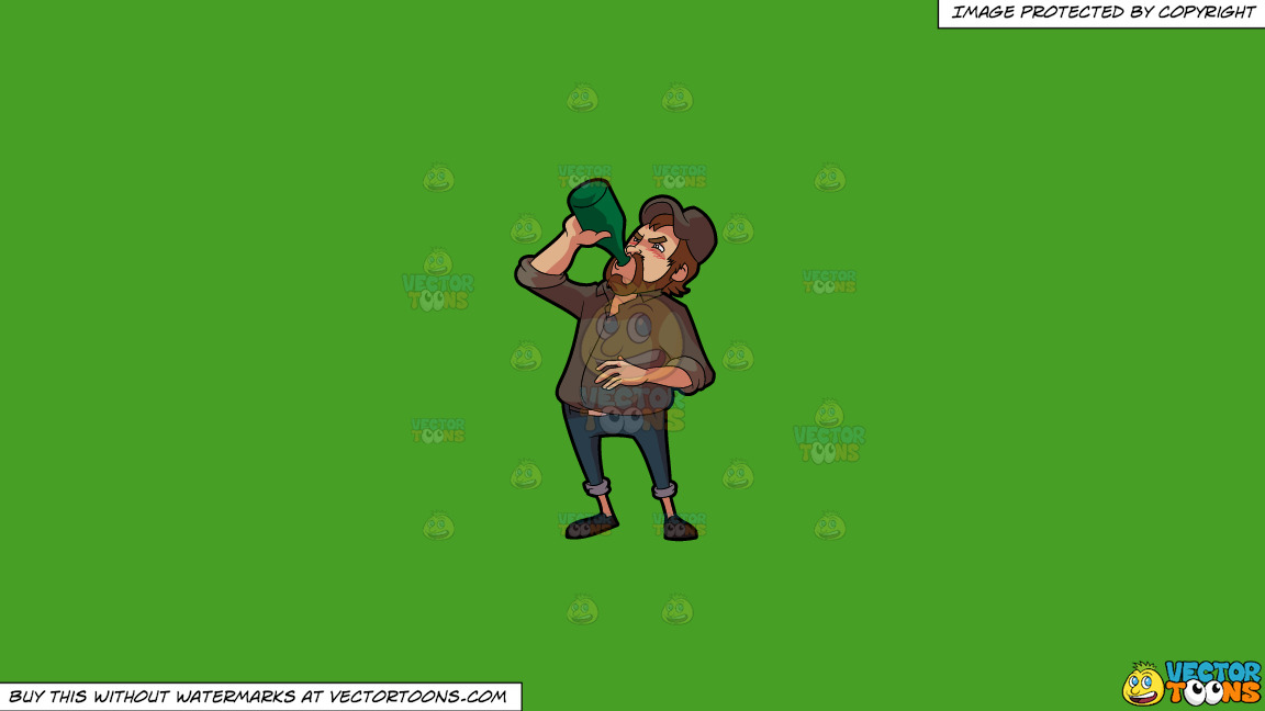 A Man Chugging A Whole Bottle Of Alcoholic Drink On A Solid Kelly Green 47a025 Background thumbnail