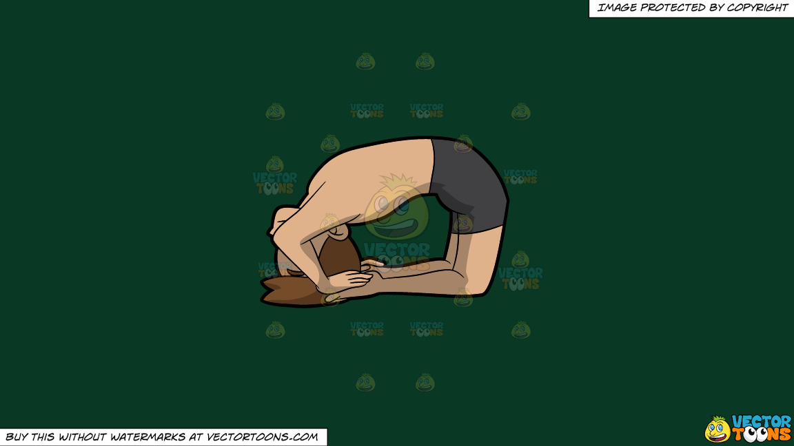 A Man Coming Into A Variation Of The Ashtanga Pigeon Yoga Pose On A Solid Dark Green 093824 Background thumbnail