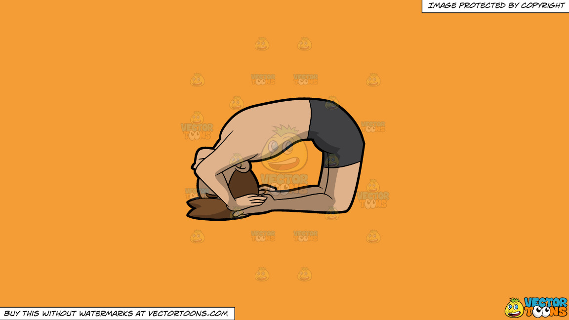 A Man Coming Into A Variation Of The Ashtanga Pigeon Yoga Pose On A Solid Deep Saffron Gold F49d37 Background thumbnail
