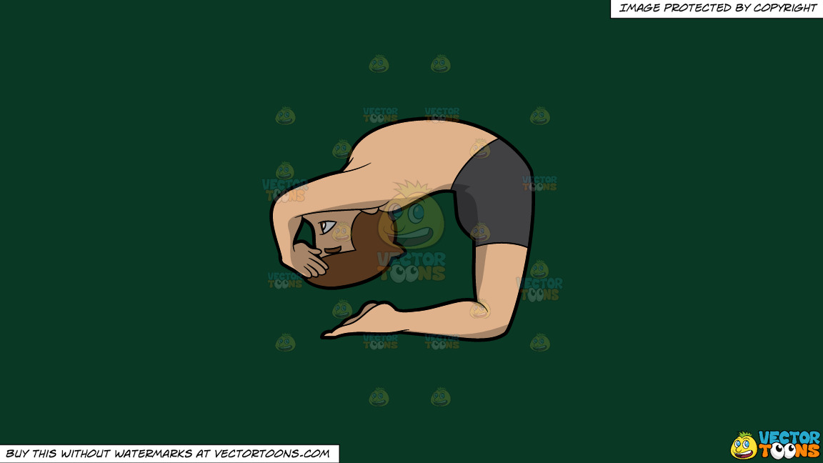 A Man Coming Into The Ashtanga Pigeon Yoga Pose On A Solid Dark Green 093824 Background thumbnail
