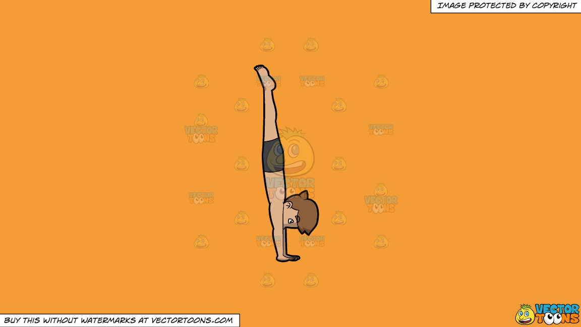 A Man Coming Out Of Boat Pose On A Solid Deep Saffron Gold F49d37 Background thumbnail