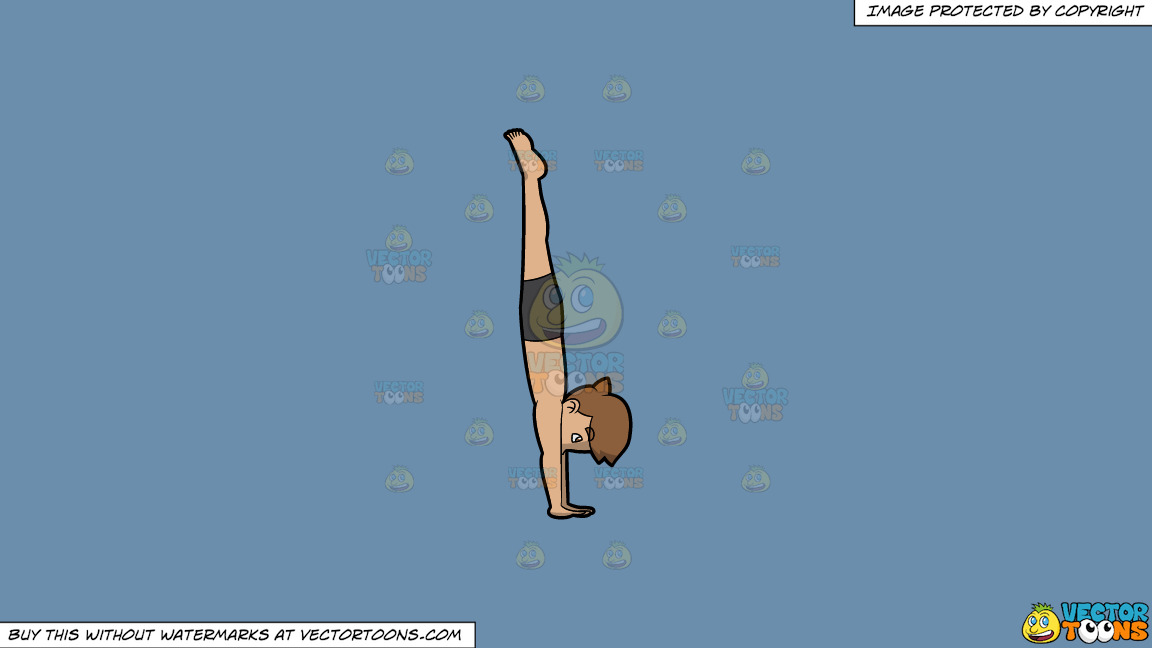 A Man Coming Out Of Boat Pose On A Solid Shadow Blue 6c8ead Background thumbnail