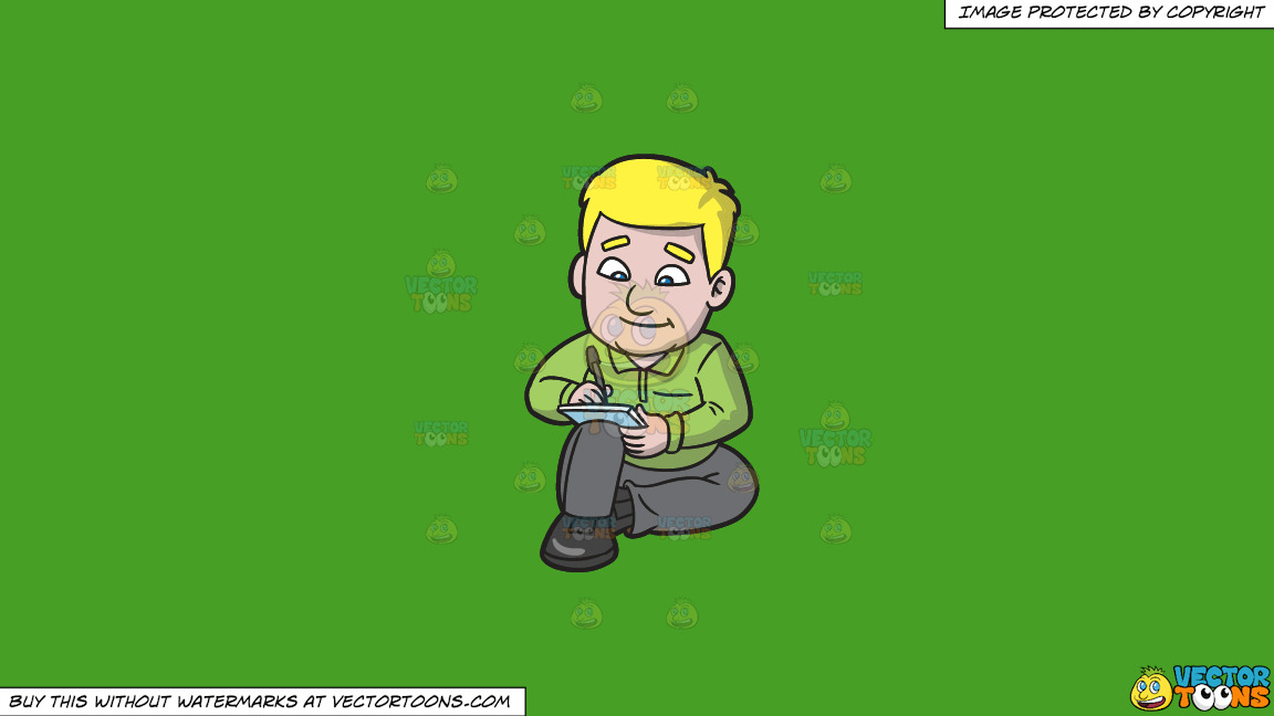 A Man Composing A Paragraph On A Solid Kelly Green 47a025 Background thumbnail