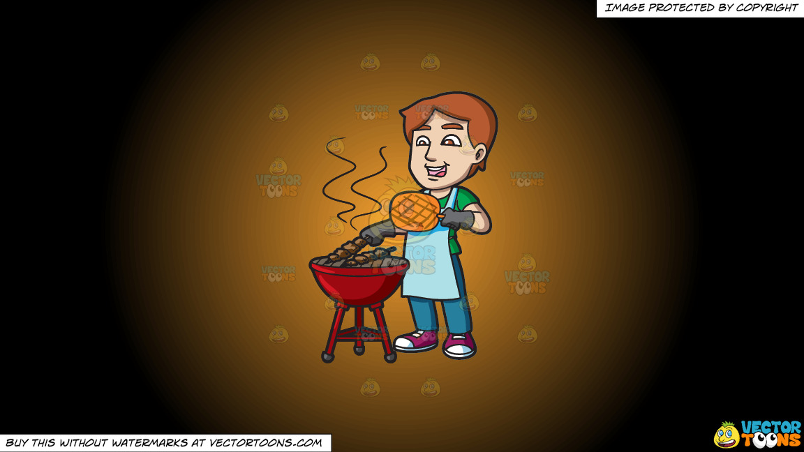 A Man Cooking Barbecue On The Grill On A Orange And Black Gradient Background thumbnail
