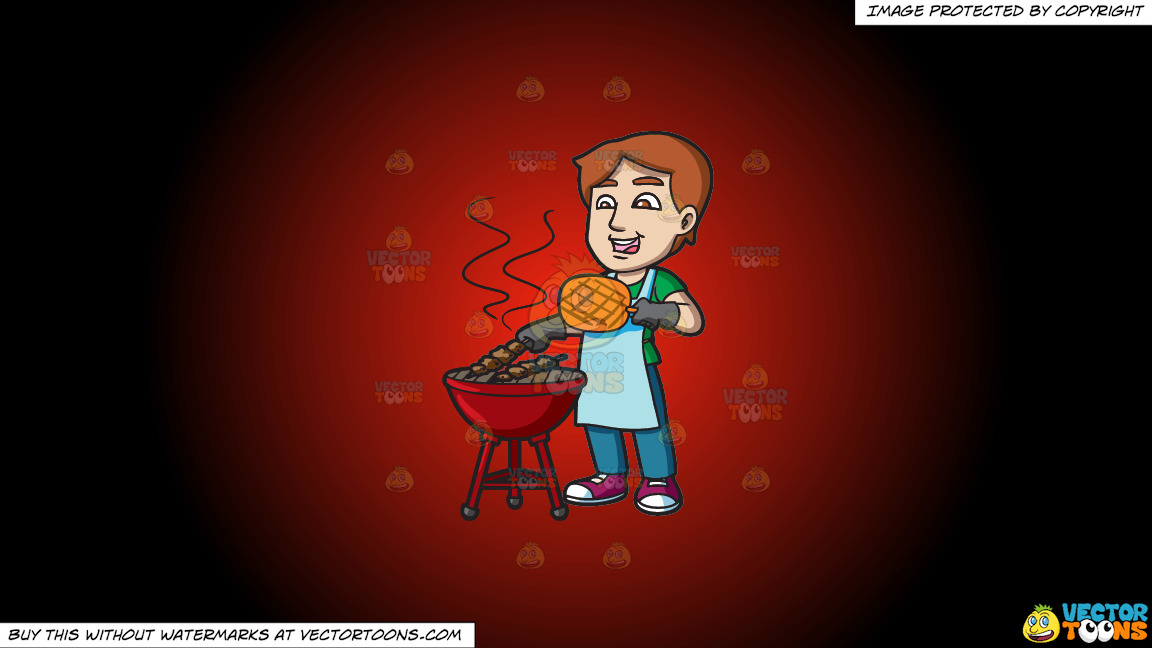 A Man Cooking Barbecue On The Grill On A Red And Black Gradient Background thumbnail
