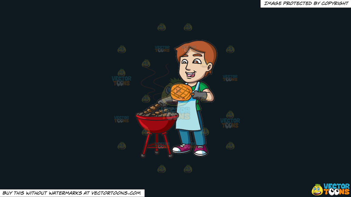 A Man Cooking Barbecue On The Grill On A Solid Off Black 0f1a20 Background thumbnail