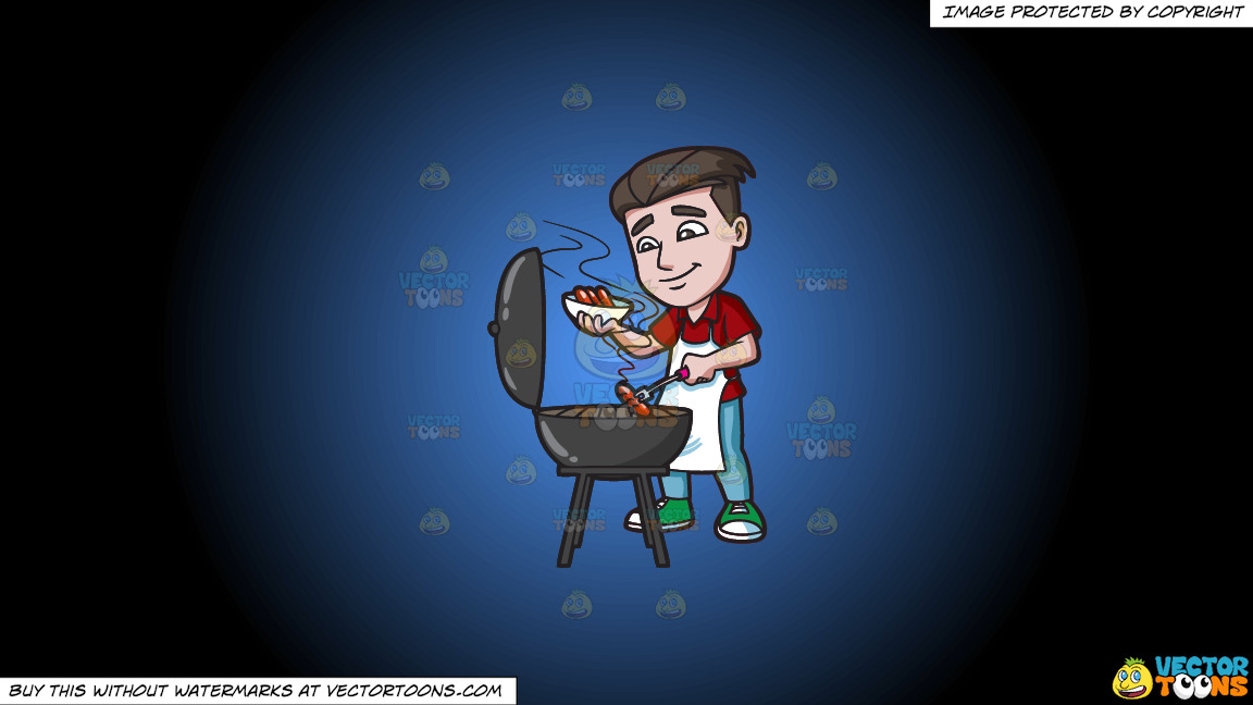 A Man Cooking Hot Dogs On The Grill On A Blue And Black Gradient Background thumbnail