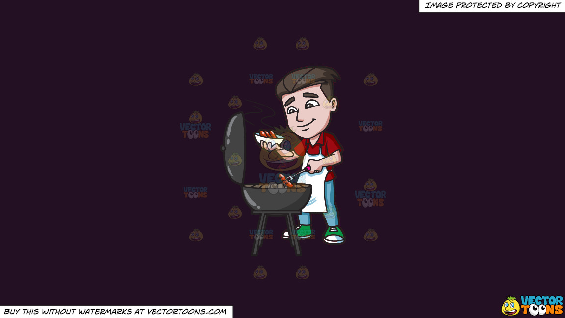A Man Cooking Hot Dogs On The Grill On A Solid Purple Rasin 241023 Background thumbnail