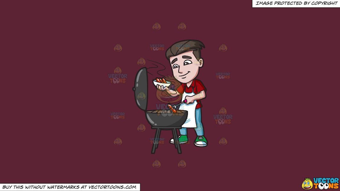 A Man Cooking Hot Dogs On The Grill On A Solid Red Wine 5b2333 Background thumbnail