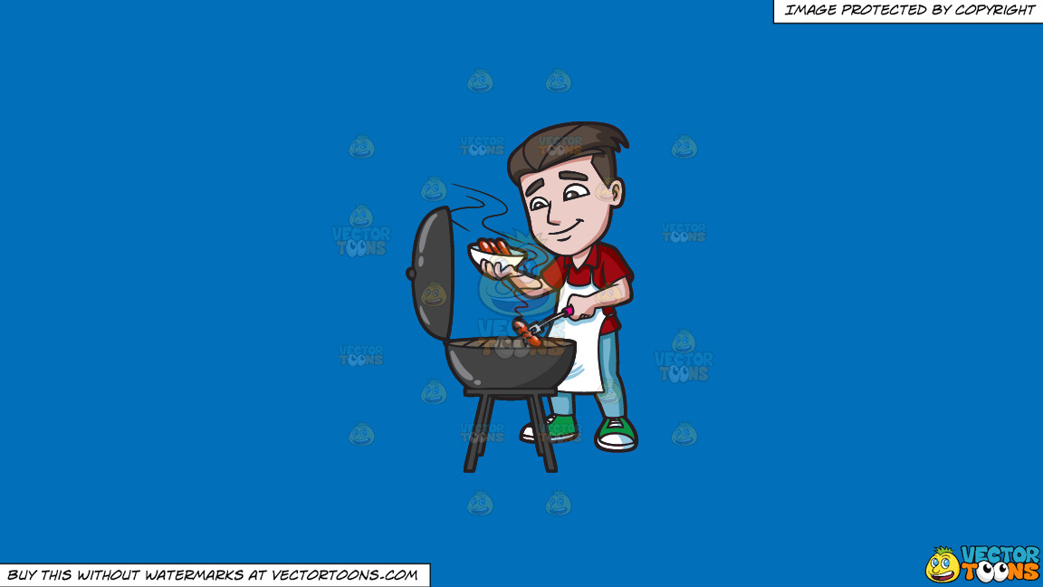 A Man Cooking Hot Dogs On The Grill On A Solid Spanish Blue 016fb9 Background thumbnail