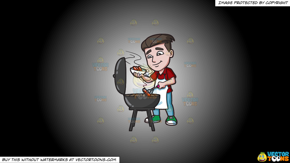 A Man Cooking Hot Dogs On The Grill On A White And Black Gradient Background thumbnail