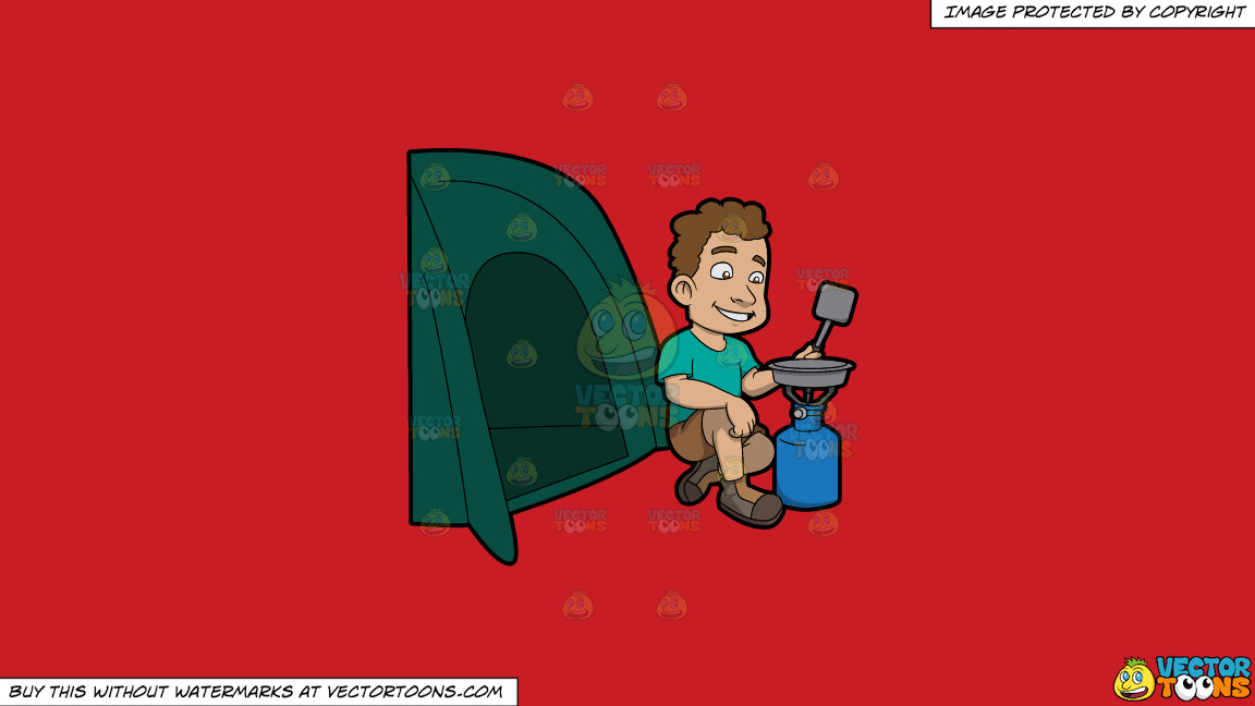 A Man Cooking Supper Outside His Tent On A Solid Fire Engine Red C81d25 Background thumbnail
