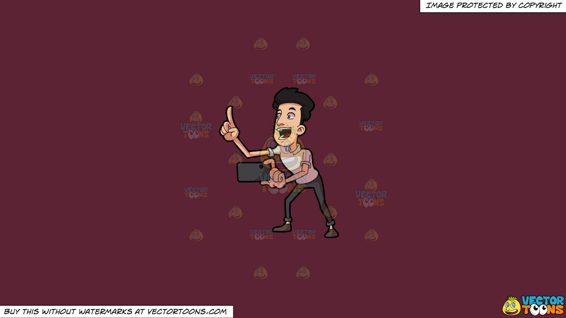 A Man Counting Before He Takes A Photo On A Solid Red Wine 5b2333 Background thumbnail