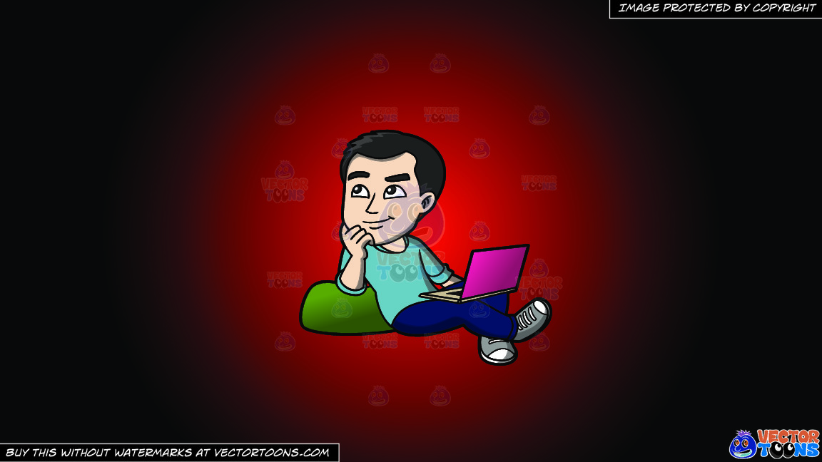 A Man Daydreaming While Surfing The Net On A Red And Black Gradient Background thumbnail