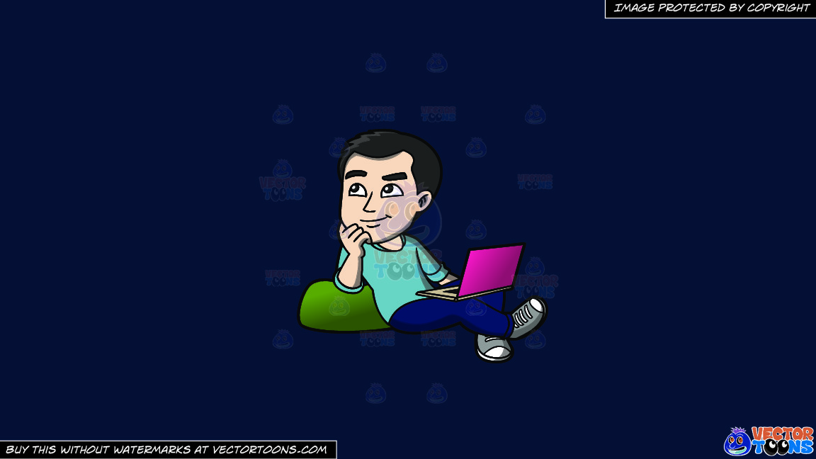 A Man Daydreaming While Surfing The Net On A Solid Dark Blue 011936 Background thumbnail