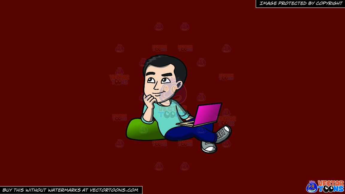 A Man Daydreaming While Surfing The Net On A Solid Maroon 69140e Background thumbnail