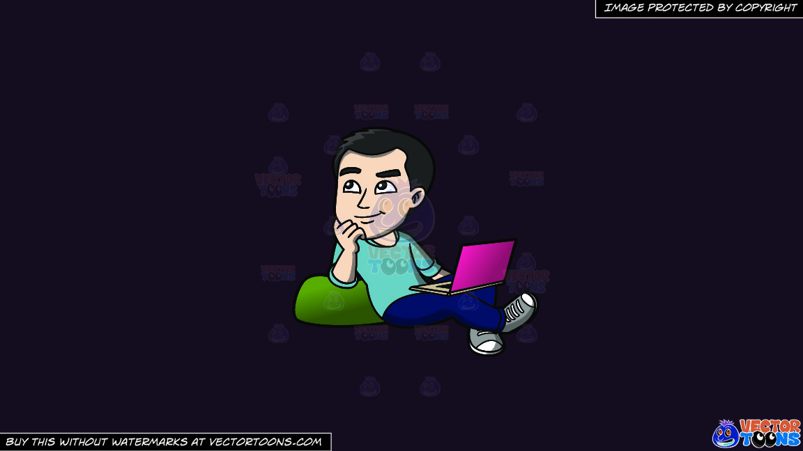 A Man Daydreaming While Surfing The Net On A Solid Purple Rasin 241023 Background thumbnail