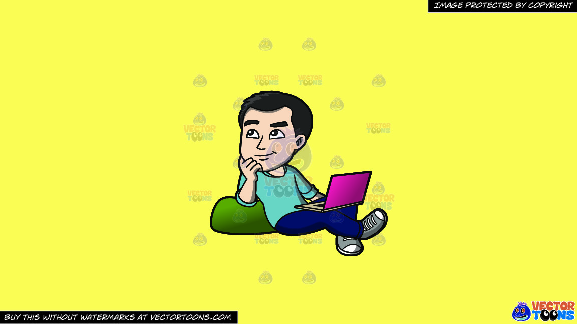 A Man Daydreaming While Surfing The Net On A Solid Sunny Yellow Fff275 Background thumbnail