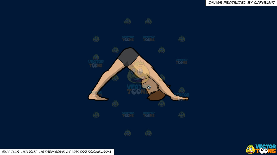 A Man Doing A Downward Facing Dog Yoga Pose On A Solid Dark Blue 011936 Background thumbnail