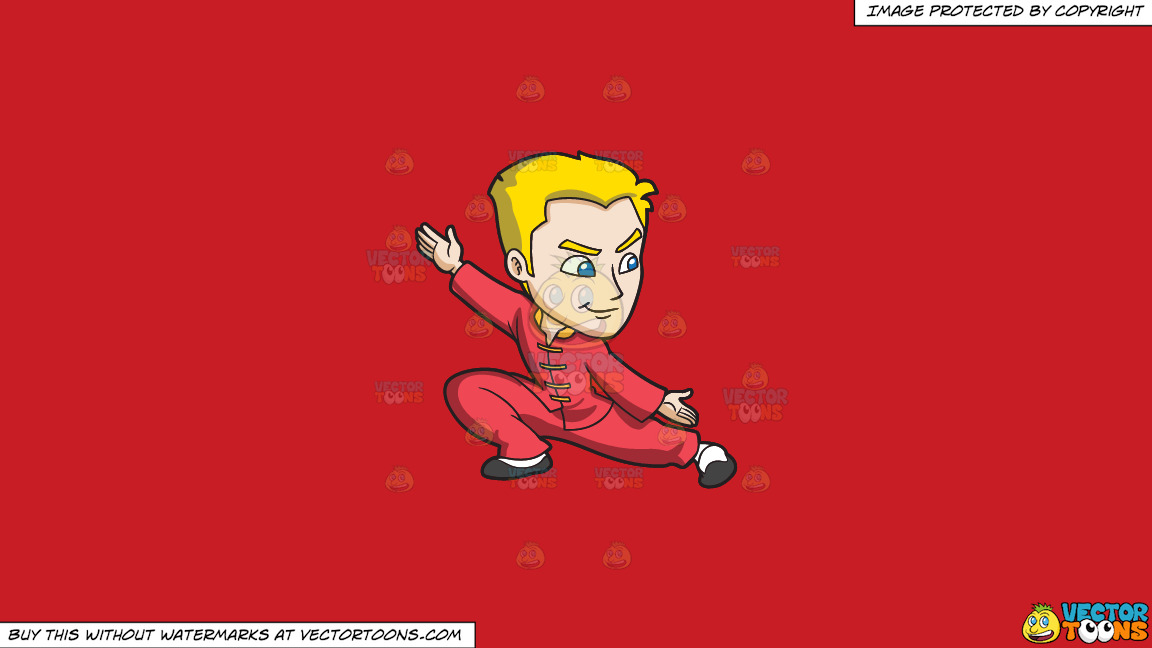 A Man Doing A Kung Fu Stance On A Solid Fire Engine Red C81d25 Background thumbnail