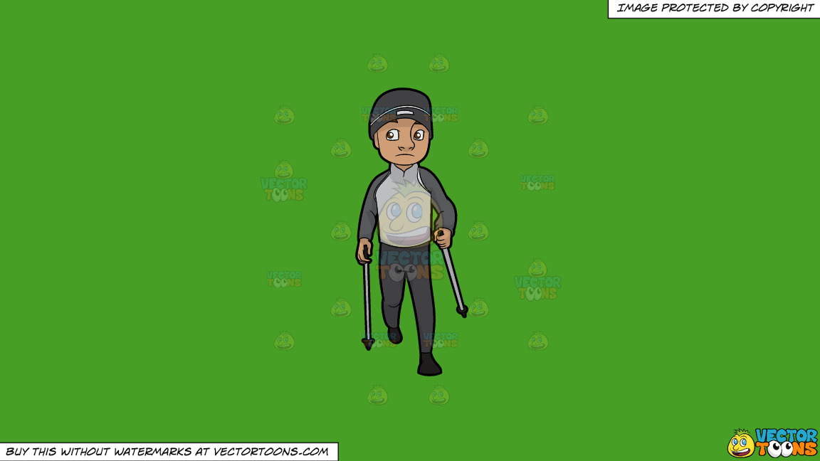 A Man Doing A Nordic Walk In Chilly Weather On A Solid Kelly Green 47a025 Background thumbnail