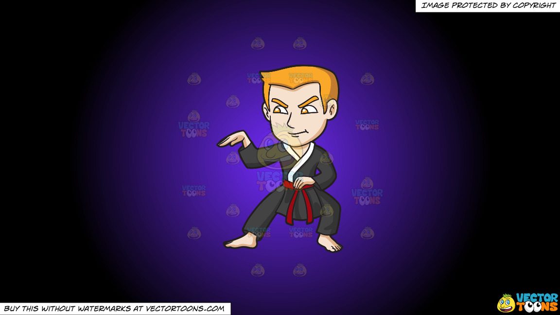 A Man Doing A Snake Style Martial Arts Stance On A Purple And Black Gradient Background thumbnail