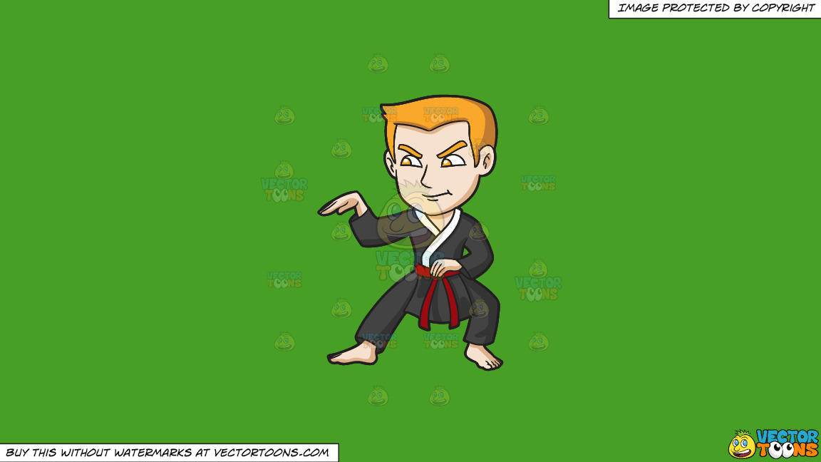 A Man Doing A Snake Style Martial Arts Stance On A Solid Kelly Green 47a025 Background thumbnail